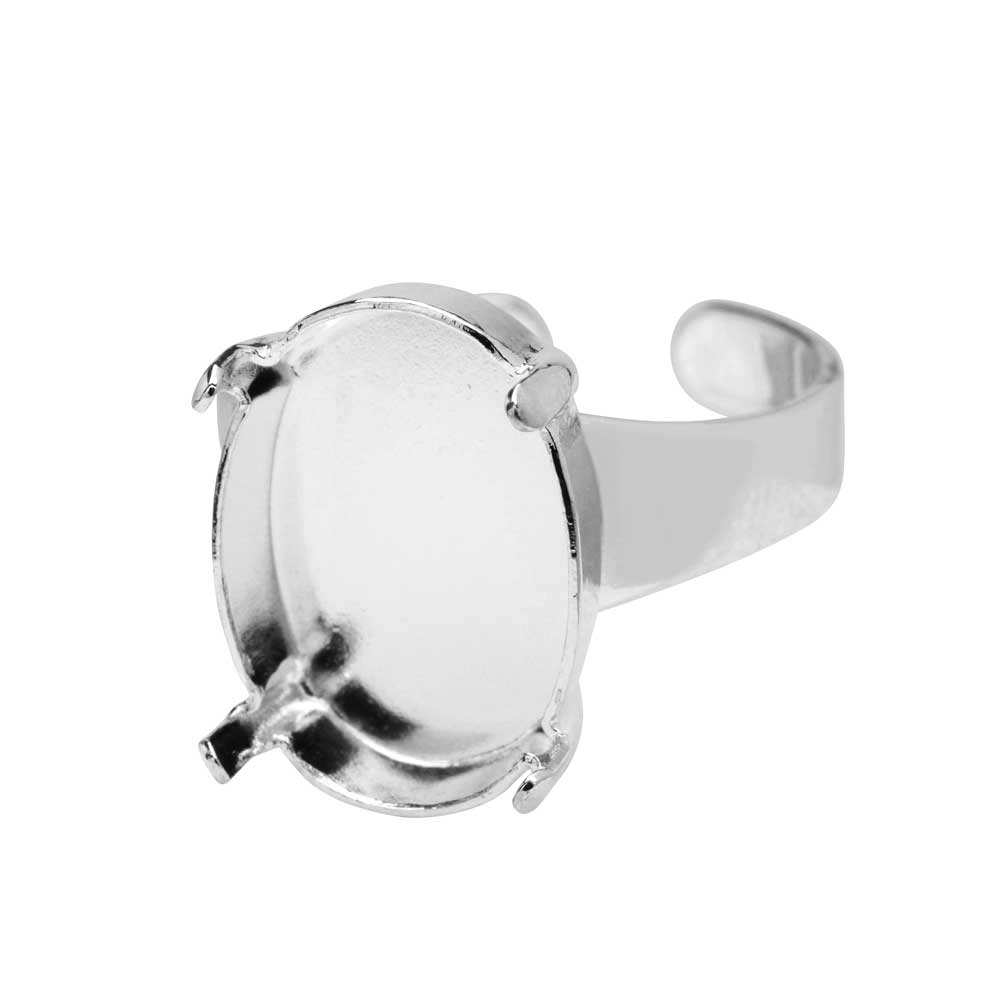 Gita Jewelry Stone Setting for Swarovski Crystal, Ring Base for 18x13mm Oval, Rhodium Plated