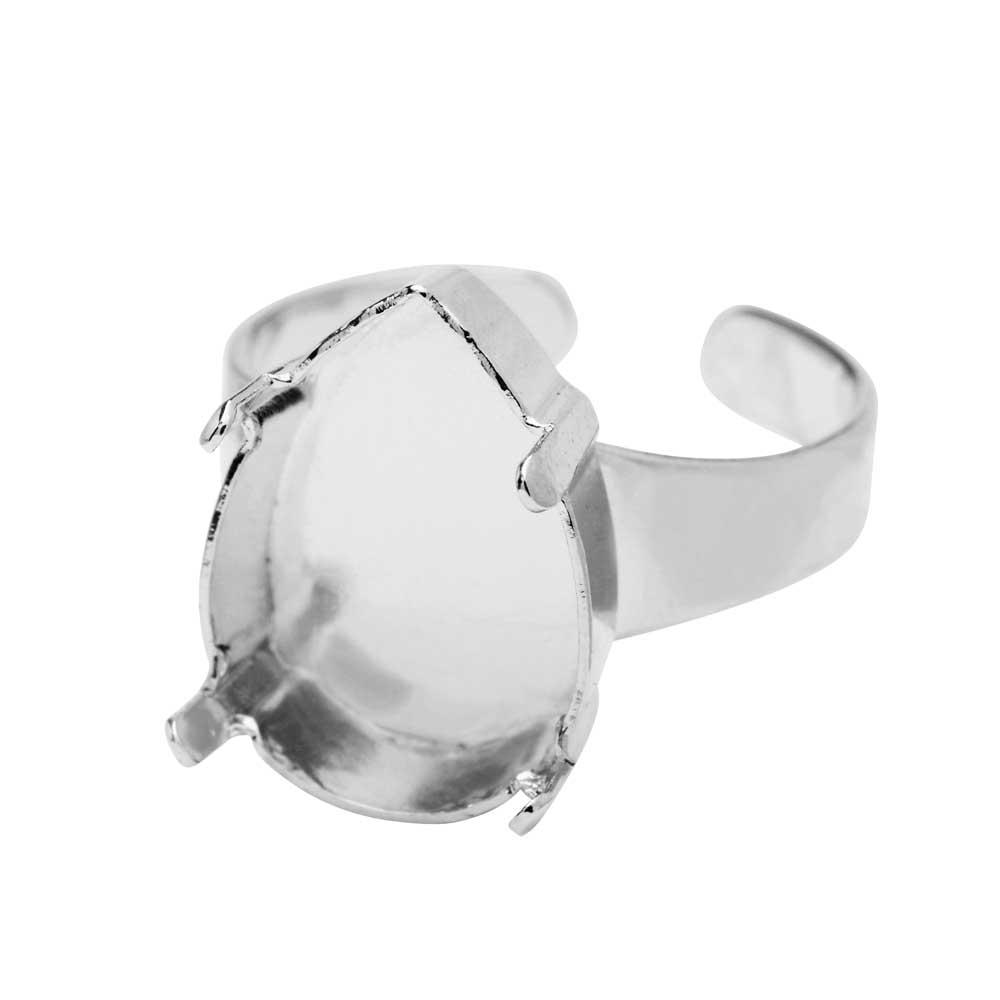 Gita Jewelry Stone Setting for Swarovski Crystal, Ring Base for 18x13mm Pear, Rhodium Plated