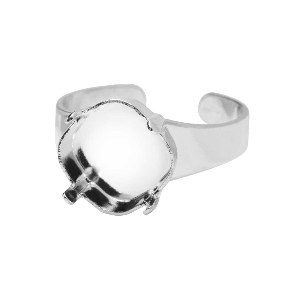 Gita Jewelry Setting for Swarovski Crystal, Tilted Square Ring Base for 12mm Cushion, Rhodium Plated