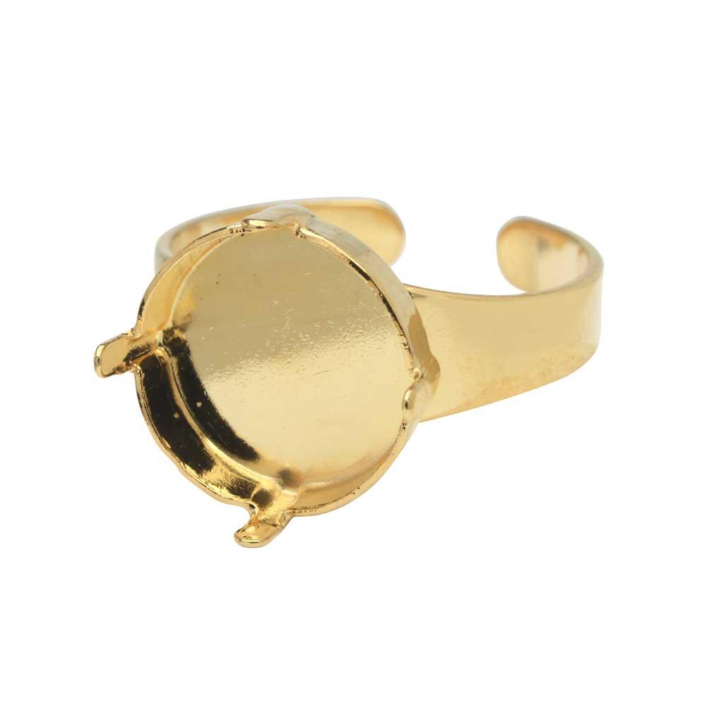 Gita Jewelry Stone Setting for Swarovski Crystal, Ring Base for 14mm Rivoli, Gold Plated