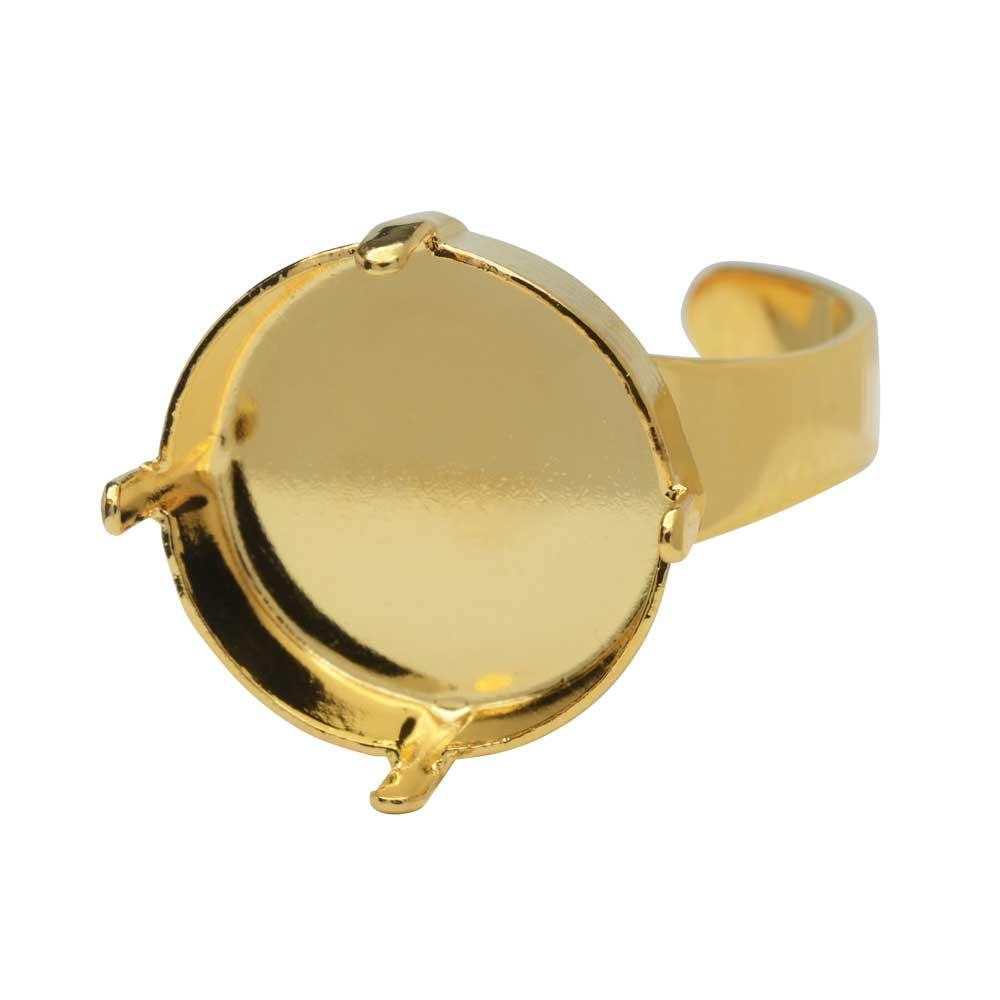 Gita Jewelry Stone Setting for Swarovski Crystal, Ring Base for 16mm Rivoli, Gold Plated