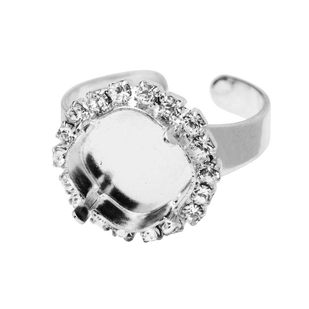 Gita Jewelry Setting for Swarovski Crystal, Tilted Square Ring Base,12mm Cushion w/Crystals, Rhodium