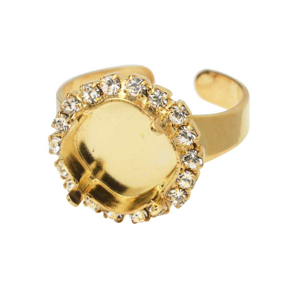 Gita Jewelry Setting for Swarovski Crystal, Tilted Ring Base, 12mm Cushion Stone w/Crystals, Gold
