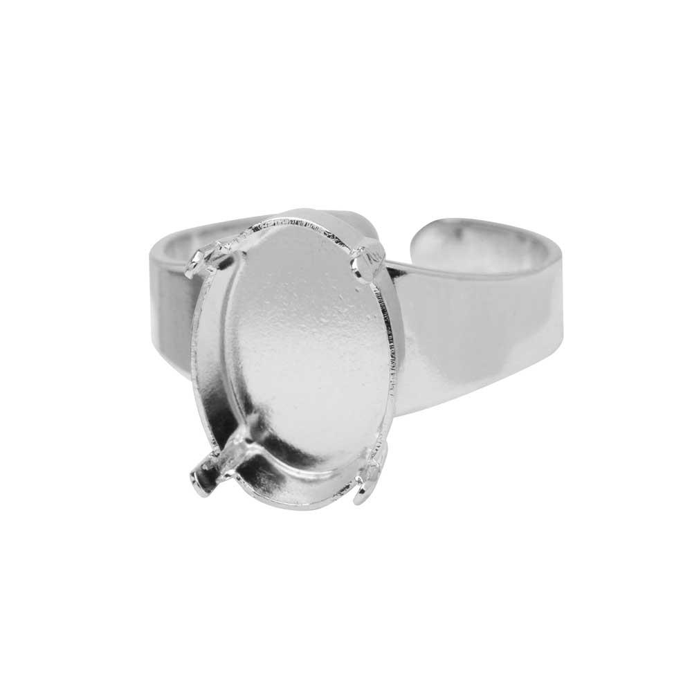 Gita Jewelry Setting for Swarovski Crystal, Adjustable Ring Base for 14x10 Oval, Rhodium Plated