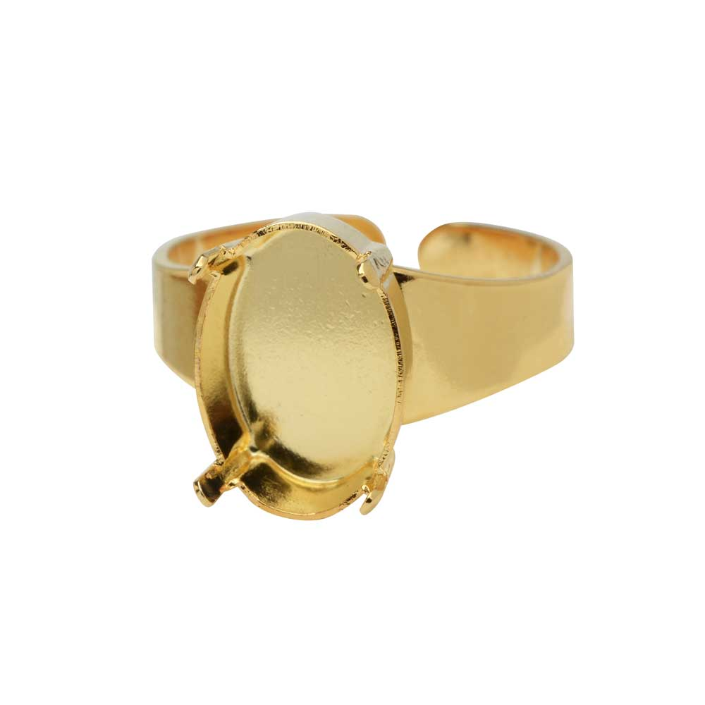 Gita Jewelry Stone Setting for Swarovski Crystal, Adjustable Ring Base for 14x10 Oval, Gold Plated
