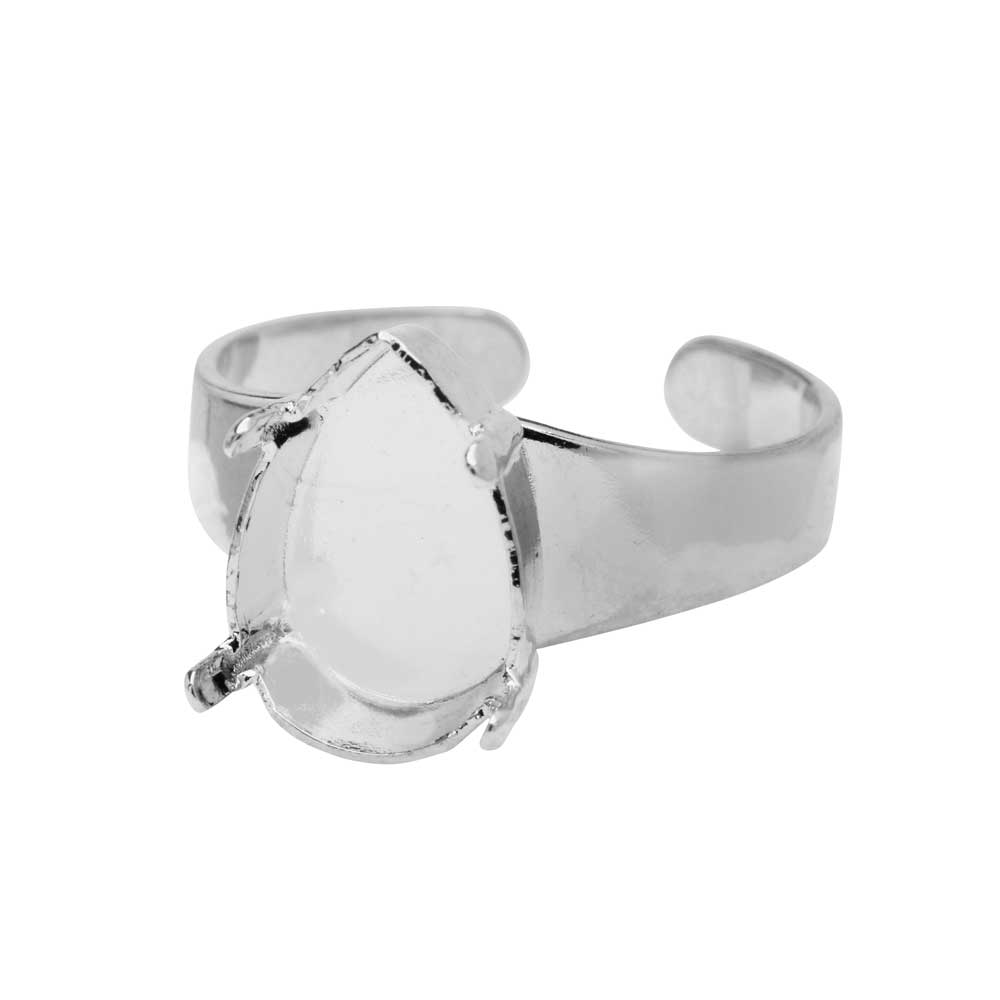 Gita Jewelry Setting for Swarovski Crystal, Adjustable Ring Base for 14x10 Pear, Rhodium Plated