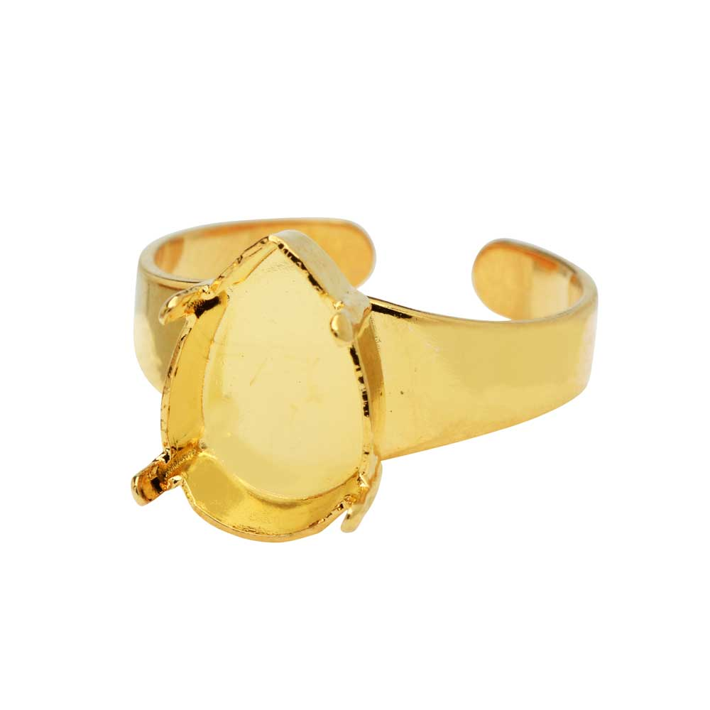 Gita Jewelry Stone Setting for Swarovski Crystal, Adjustable Ring Base for 14x10 Pear, Gold Plated
