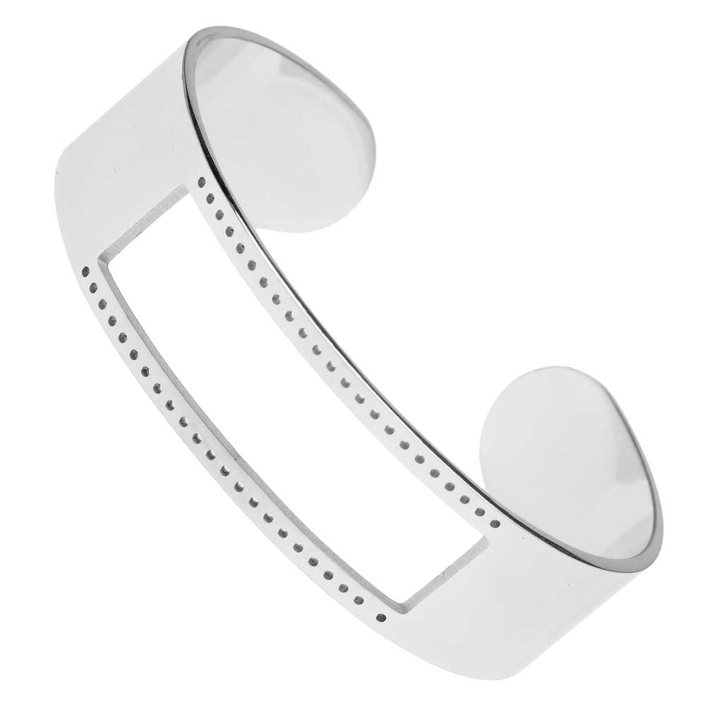 Centerline Beadable Cuff Bracelet, with Rectangular Cutout and Holes 16x58mm, 1 Piece, Silver Plated