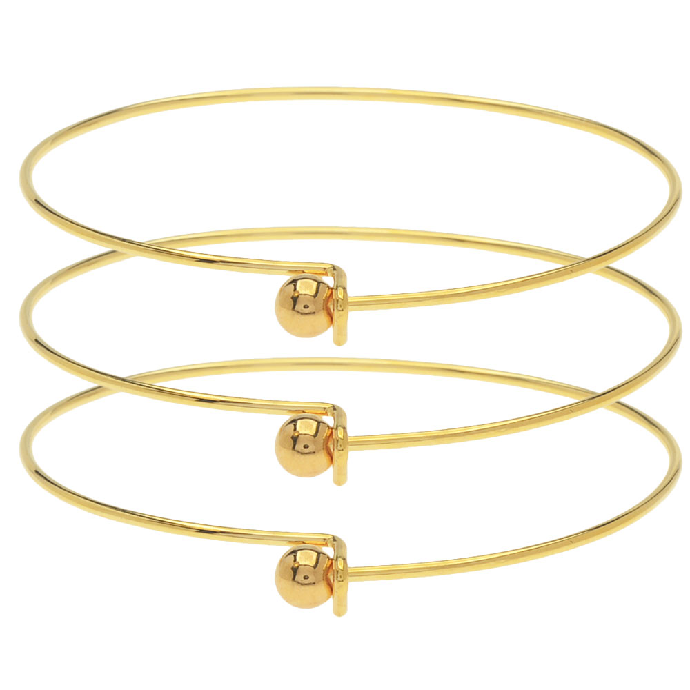 22K Gold Plated Wire Beading Bracelet With Ball - Add A Bead (3 Bracelets)