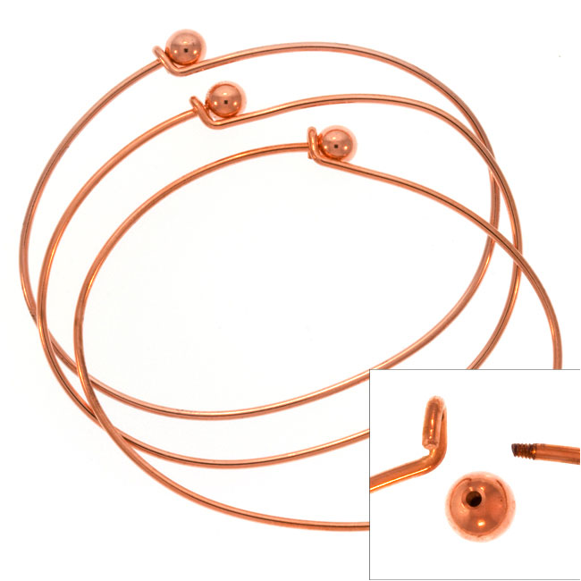Final Sale - Copper Plated Wire Beading Bracelet With Ball - Add A Bead (3 Bracelets)