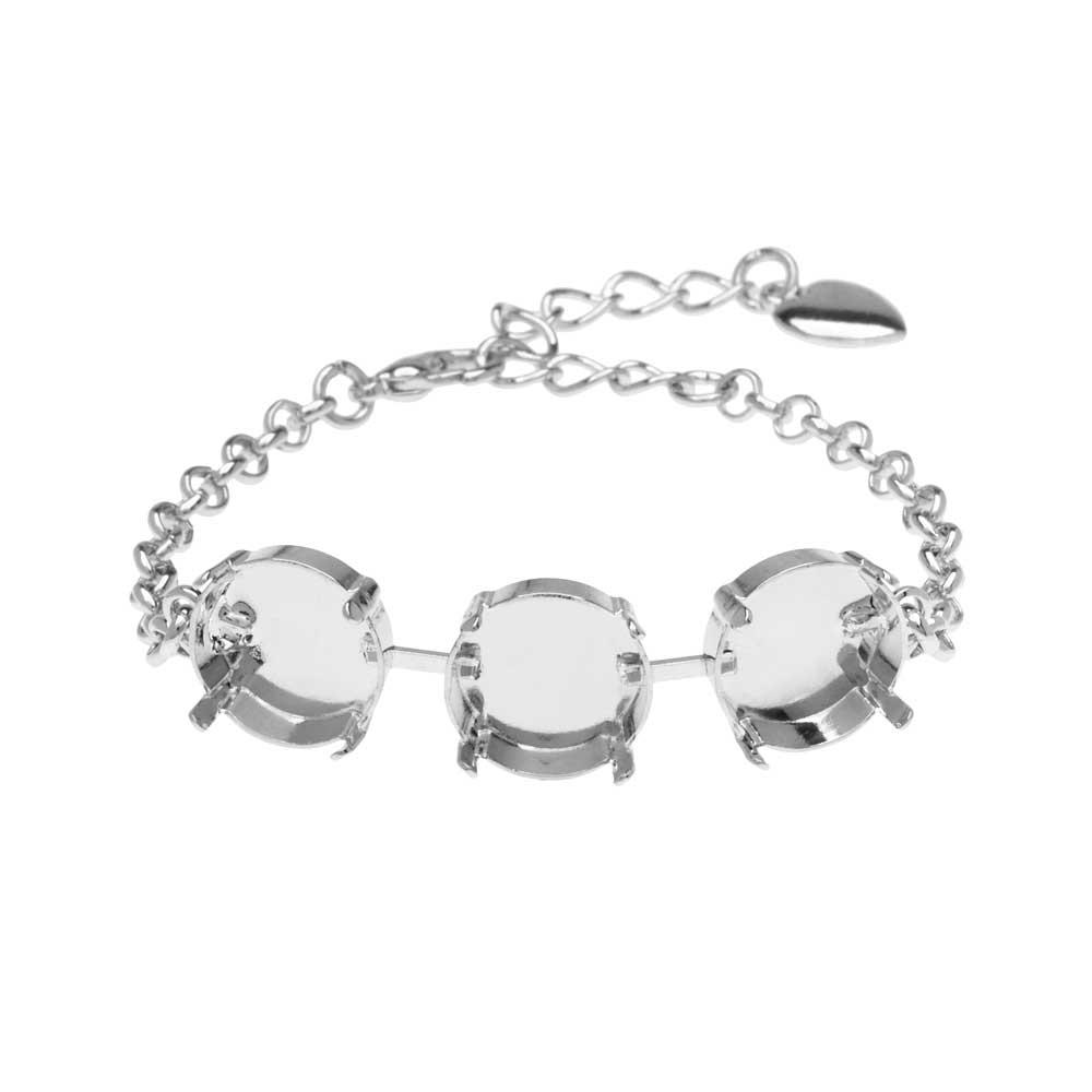 Gita Jewelry Almost Done Bracelet, Setting for 14mm Swarovski Crystal Rivolis w/Chain, Rhodium Plt