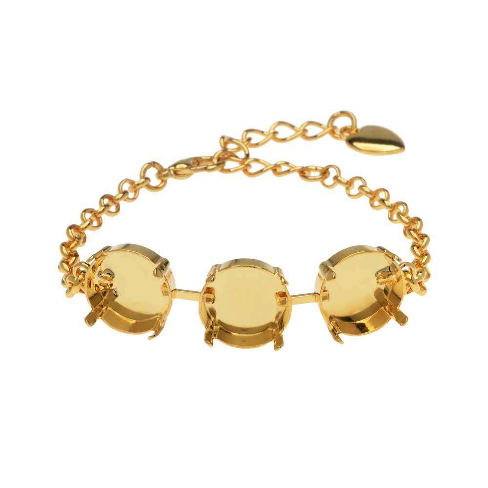 Gita Jewelry Almost Done Bracelet, Setting for 3 14mm Swarovski Crystal Rivolis w/Chain, Gold Plated