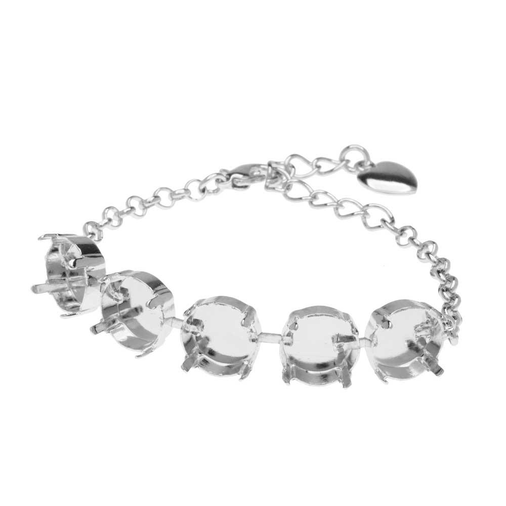 Gita Jewelry Almost Done Bracelet, Setting for 12mm Swarovski Crystal Rivolis w/Chain, Rhodium Plt