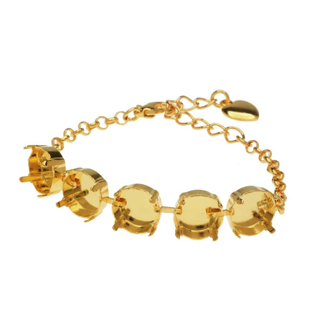 Gita Jewelry Almost Done Bracelet, Setting for 5 12mm Swarovski Crystal Rivolis w/Chain, Gold Plated