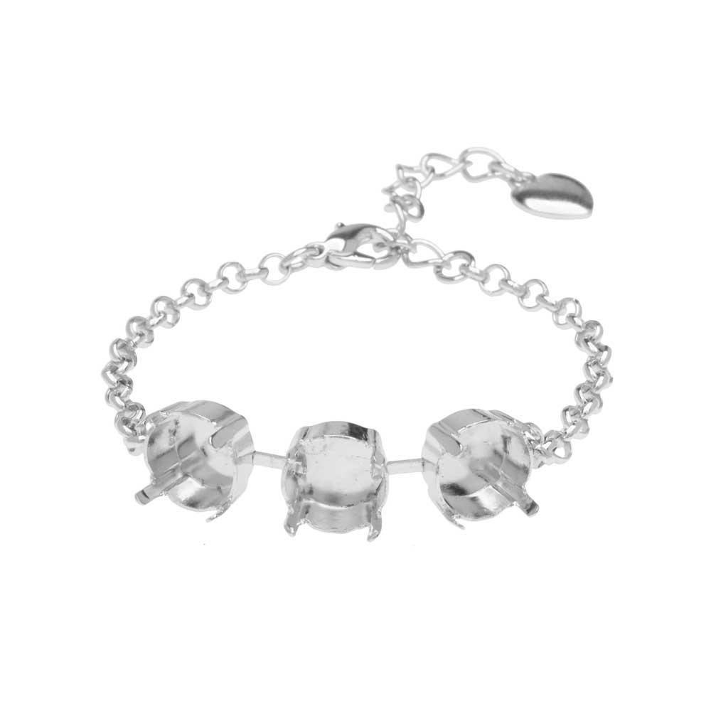 Gita Jewelry Almost Done Bracelet, Setting for SS47 Swarovski Crystal Rivolis w/Chain, Rhodium Plt