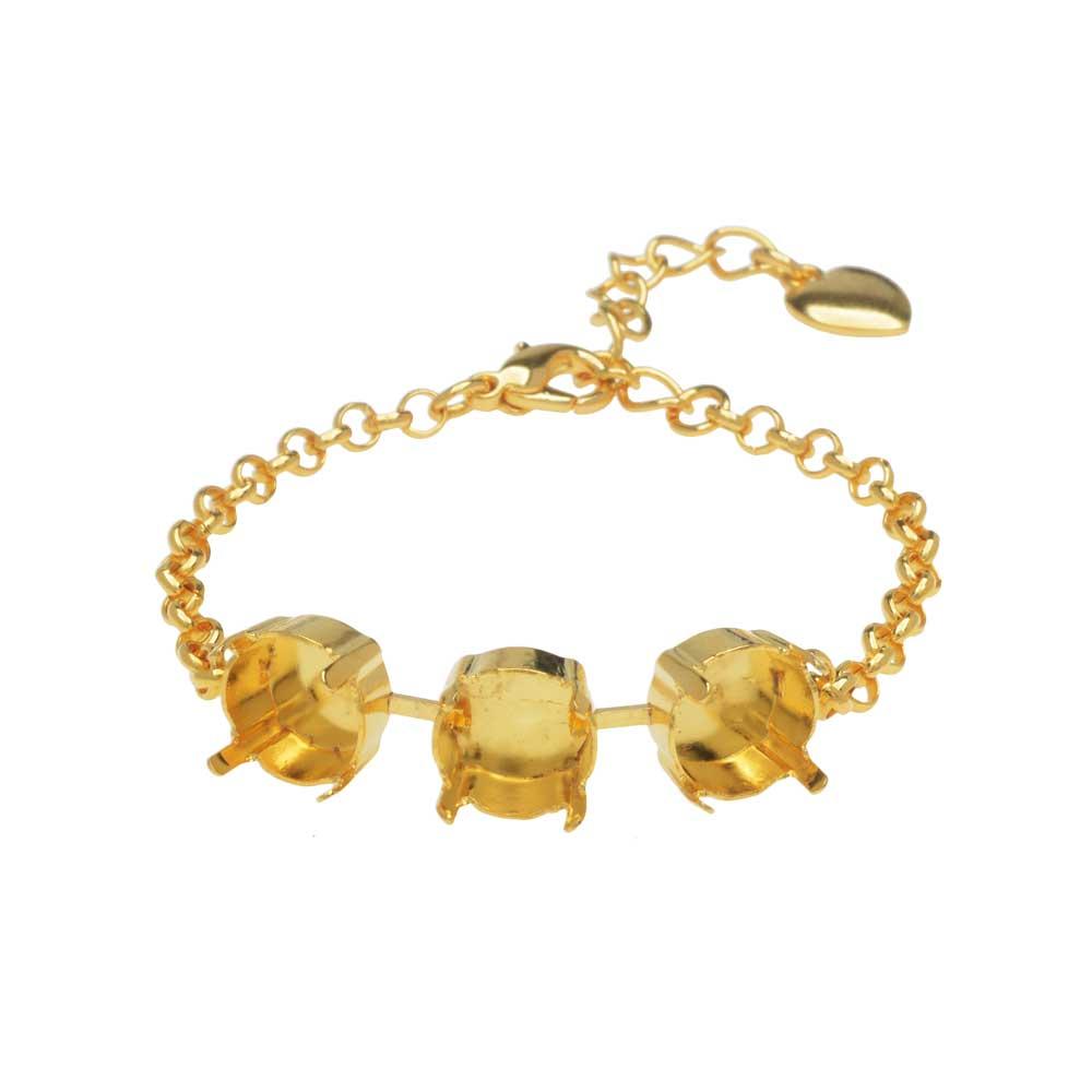 Gita Jewelry Almost Done Bracelet, Setting for 3 SS47 Swarovski Crystal Rivolis w/Chain, Gold Plated