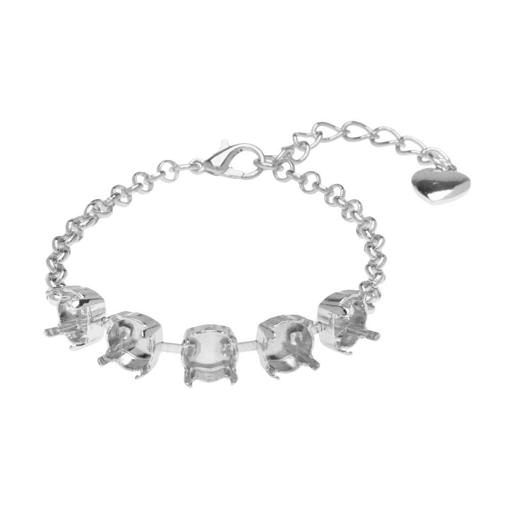 Gita Jewelry Almost Done Bracelet, Setting for SS39 Swarovski Crystal Rivolis w/Chain, Rhodium Plt
