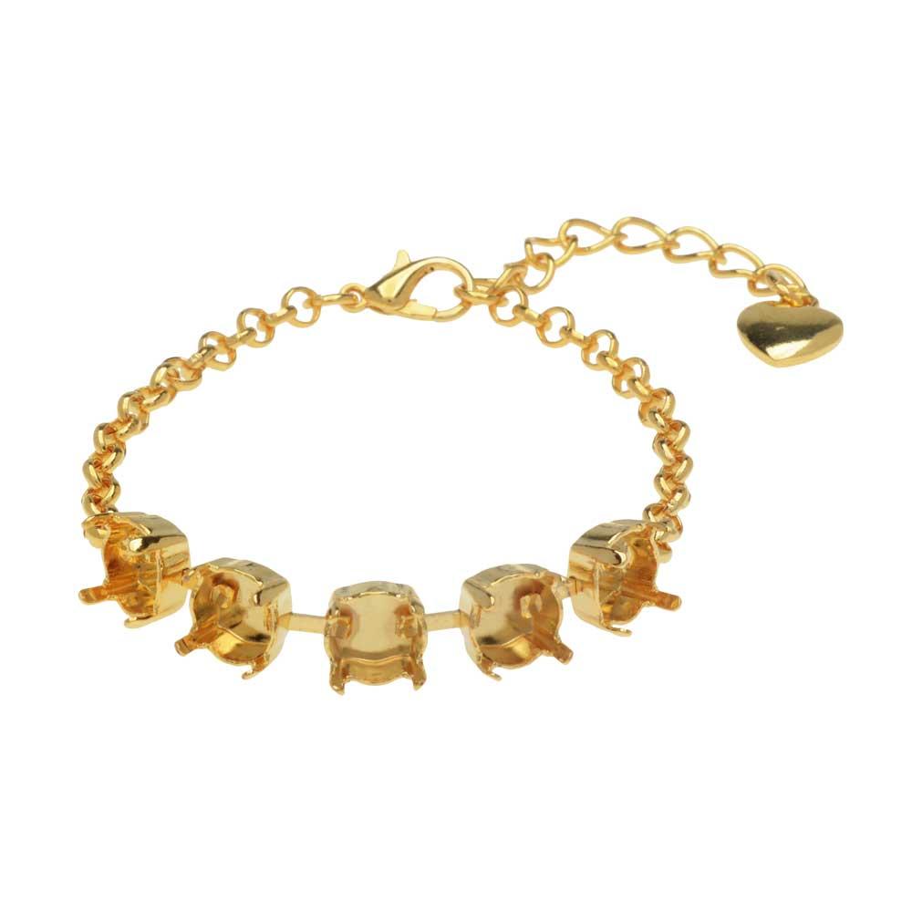 Gita Jewelry Almost Done Bracelet, Setting for 5 SS39 Swarovski Crystal Rivolis w/Chain, Gold Plated