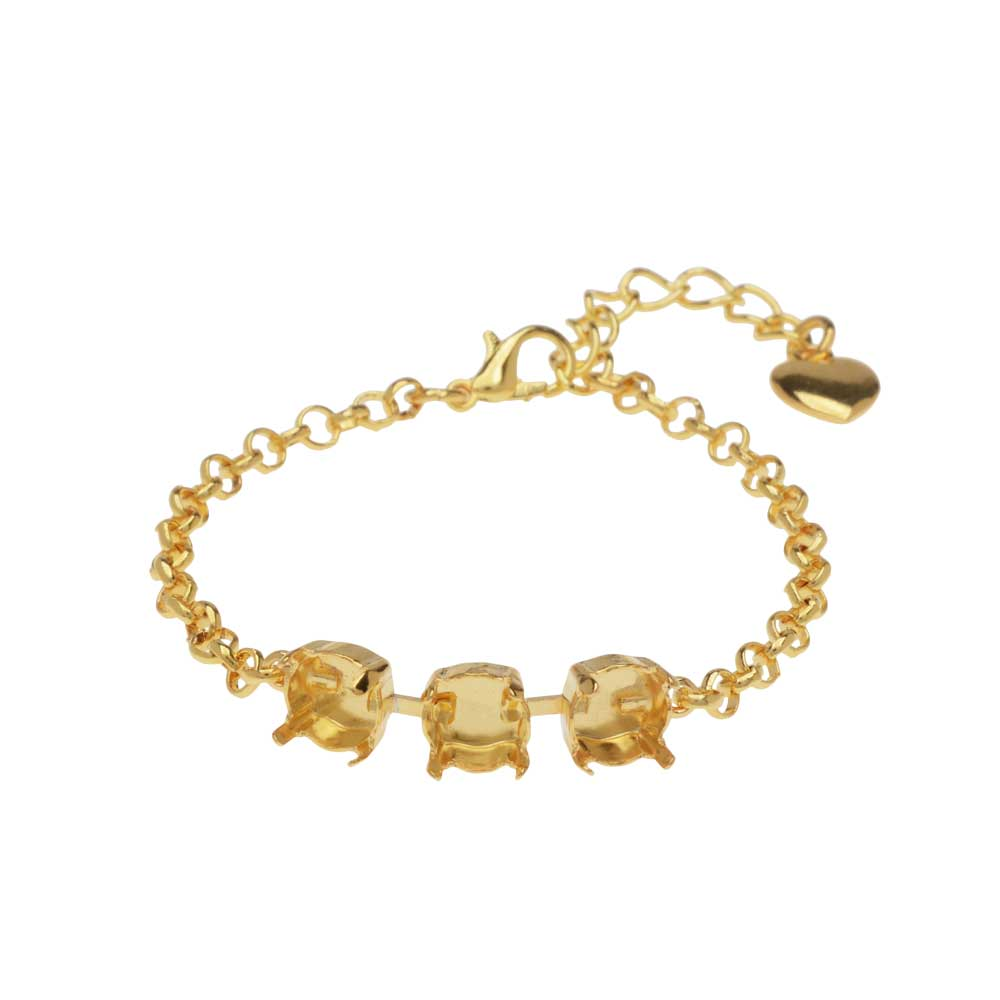 Final Sale - Gita Jewelry Almost Done Bracelet, Setting for 3 SS39 Swarovski Crystal Chatons w/Chain, Gold Plated