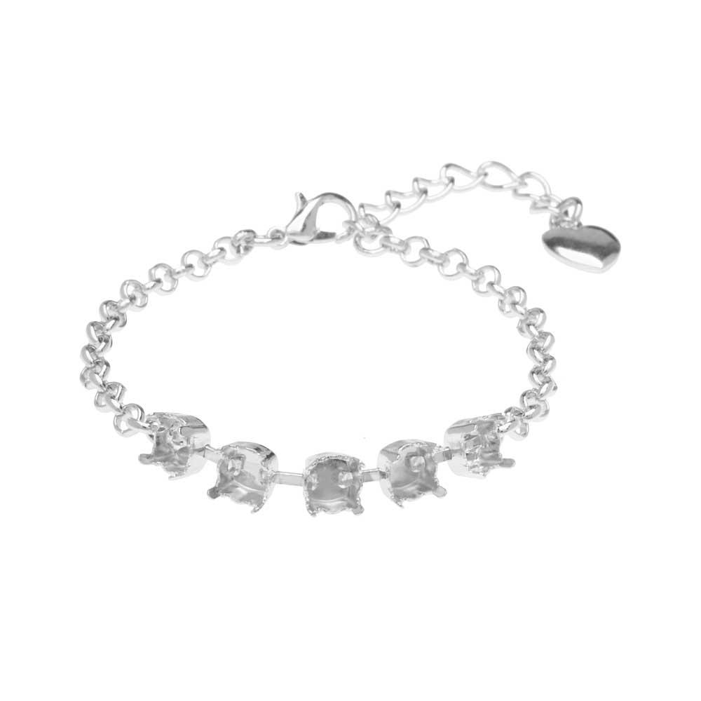 Gita Jewelry Almost Done Bracelet, Setting for SS29 Swarovski Crystal Chatons w/Chain, Rhodium Plt