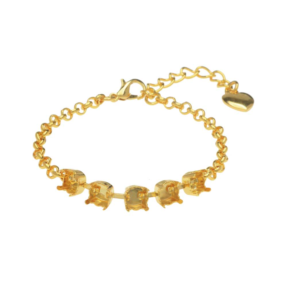 Final Sale - Gita Jewelry Almost Done Bracelet, Setting for 5 SS29 Swarovski Crystal Chatons w/Chain, Gold Plated