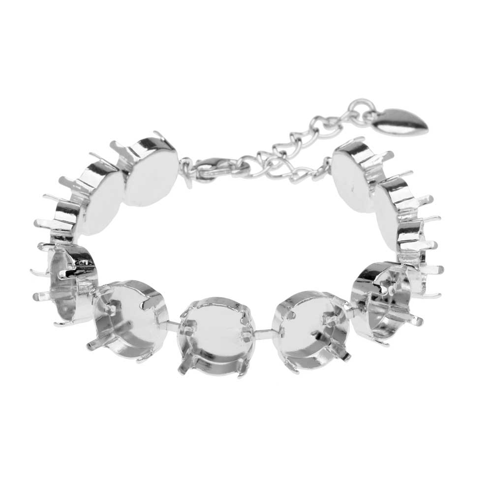 Final Sale - Gita Jewelry Almost Done Bracelet, 11 Settings for 12mm Swarovski Crystal Rivolis, Rhodium Plated