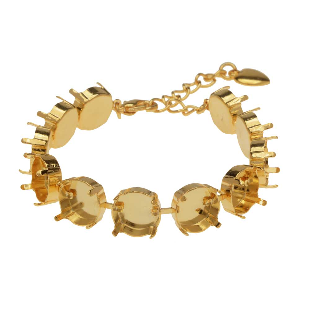 Final Sale - Gita Jewelry Almost Done Bracelet, 11 Cup Settings for 12mm Swarovski Crystal Rivolis, Gold Plated