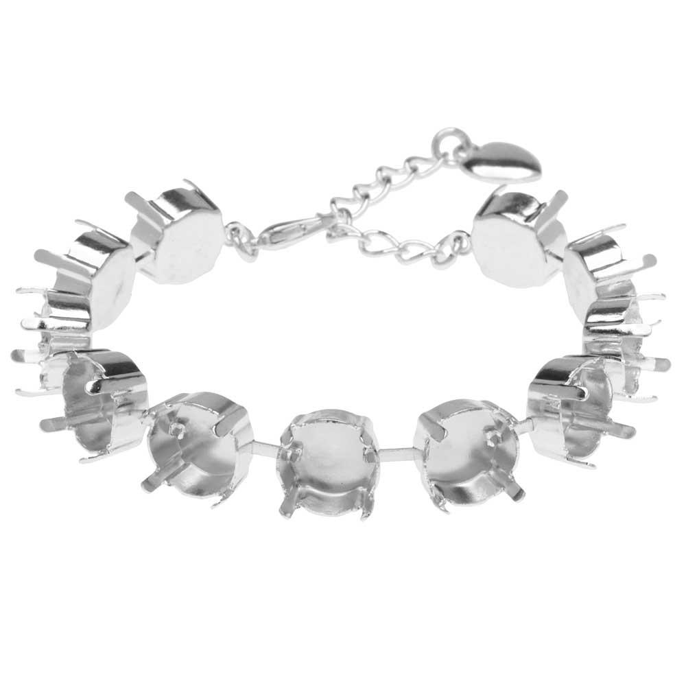 Gita Jewelry Almost Done Bracelet, 11 Settings for SS47 Swarovski Crystal Rivolis, Rhodium Plated