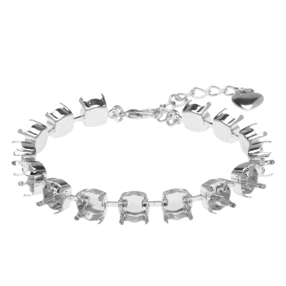 Gita Jewelry Almost Done Bracelet, 15 Settings for SS39 Swarovski Crystal Chatons, Rhodium Plated