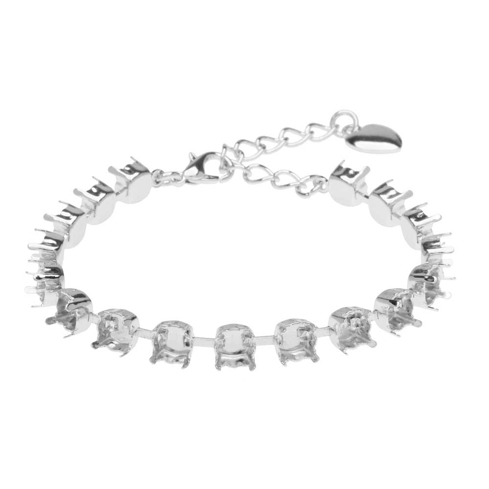 Gita Jewelry Almost Done Bracelet, 17 Settings for SS29 Swarovski Crystal Chatons, Rhodium Plated