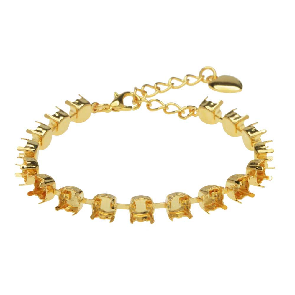 Gita Jewelry Almost Done Bracelet, 17 Cup Settings for SS29 Swarovski Crystal Chatons, Gold Plated