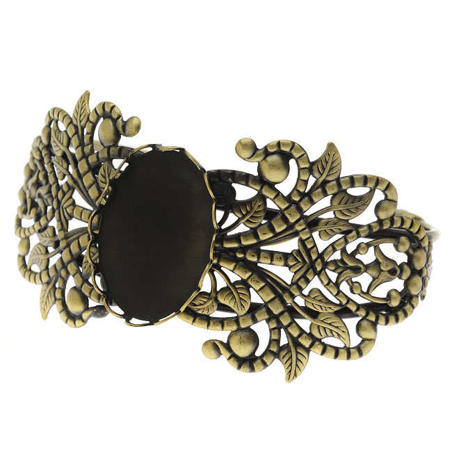 Antiqued Brass Cuff Bracelet With 18x25mm Bezel - 2 1/2 Inch