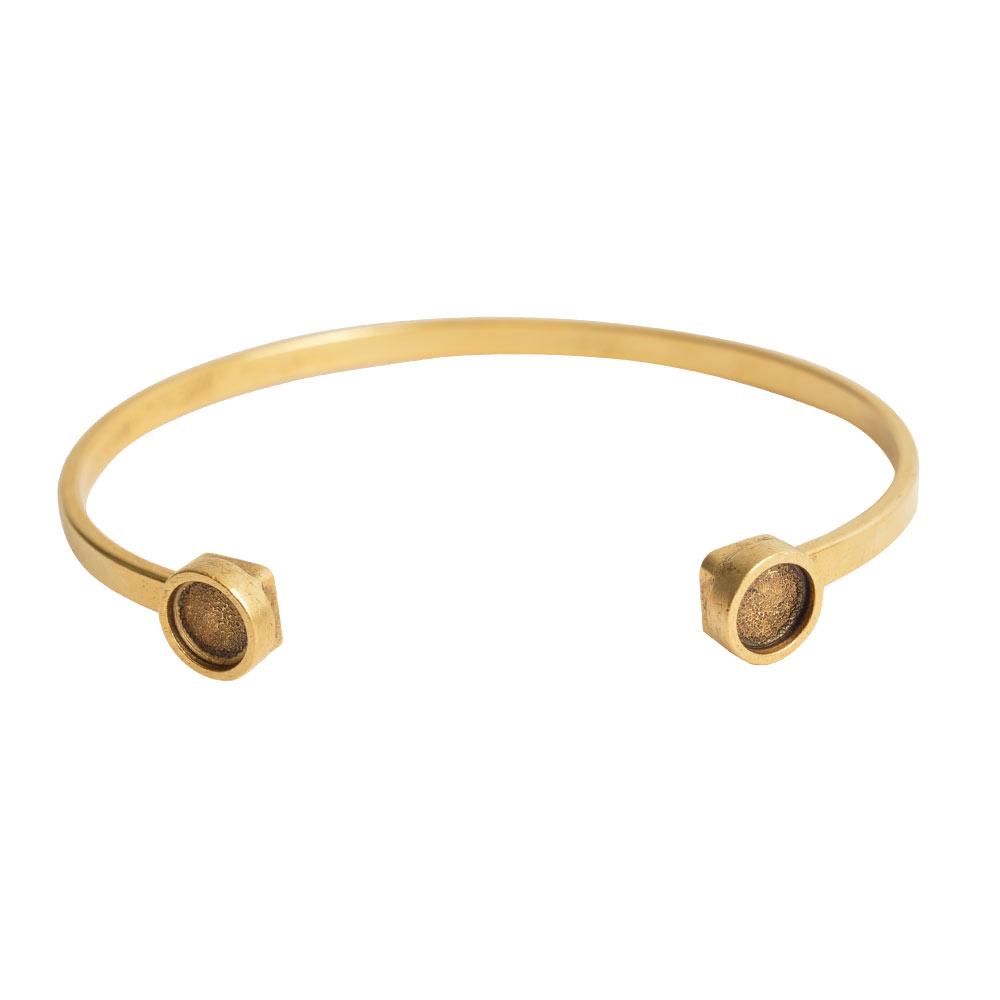 Final Sale - Nunn Design Cuff Bracelet, Circle Bezel 8mm, 1 Bracelet, Antiqued Gold