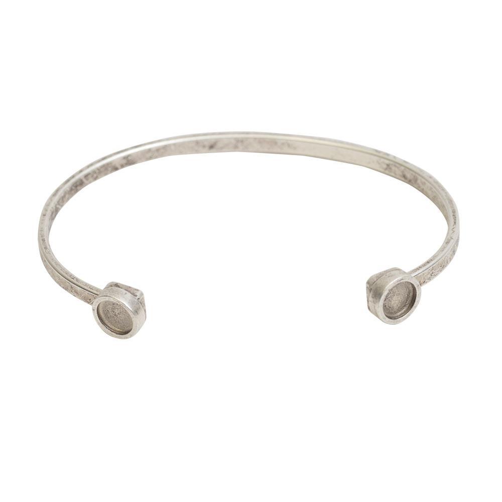 Final Sale - Nunn Design Cuff Bracelet, Circle Bezel 8mm, 1 Bracelet, Antiqued Silver