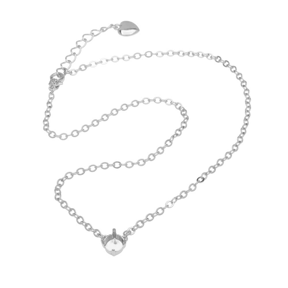 Final Sale - Gita Jewelry Almost Done Necklace, Solitaire Setting SS39 Swarovski Crystal Chaton w/Chain, Rhodium