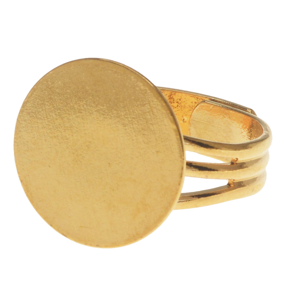 Final Sale - 22K Gold Plated Adjustable Ring With 16mm Pad For Gluing (4)