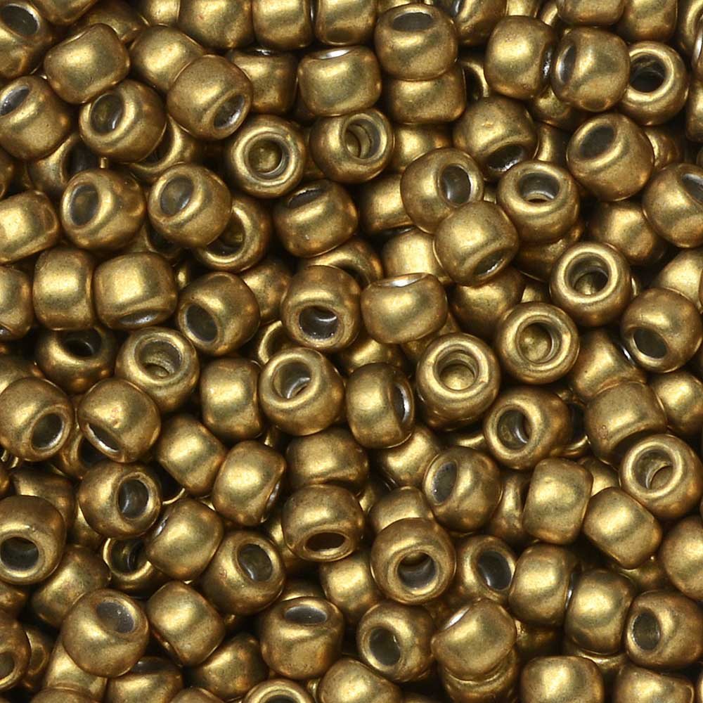 Toho Seed Beads, Round 8/0 #YPS0017 'Hybrid ColorTrends: Metallic Spicy Mustard', 8 Grams