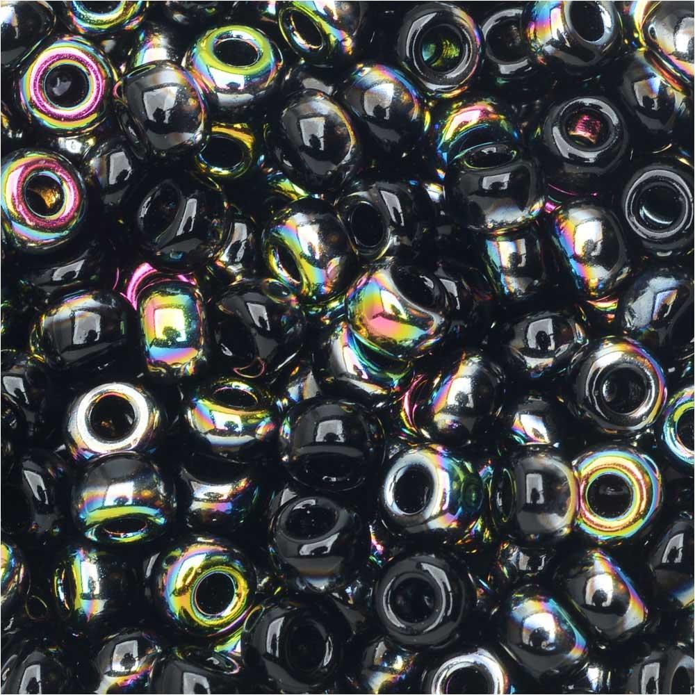 BeadSmith Unions, 6/0 Round Seed Beads, 20 Gram Tube, Black Vitrail
