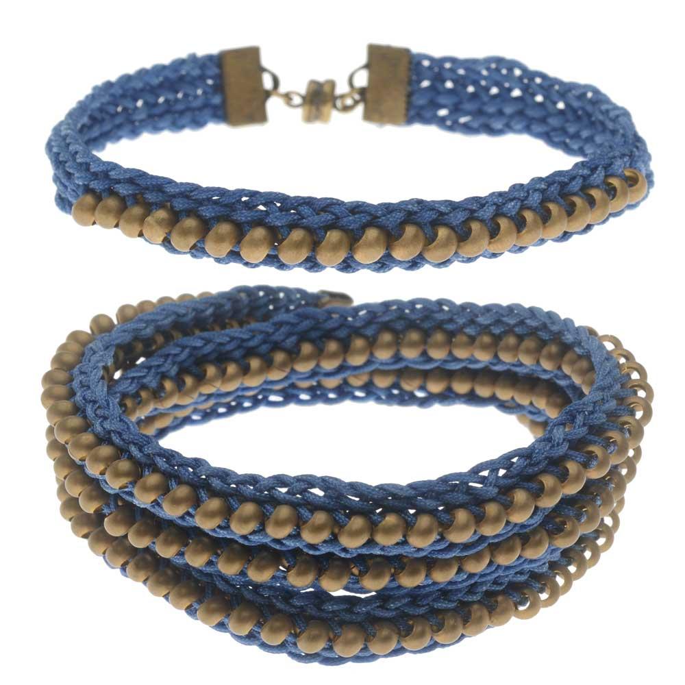 Beaded Flat Kumihimo Bracelet Set - Blue/Antique Brass - Exclusive Beadaholique Jewelry Kit