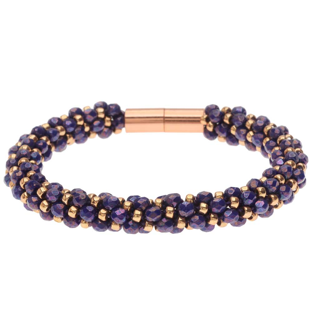 Deluxe Spiral Beaded Kumihimo Bracelet - Purple and Rose Gold - Exclusive Beadaholique Jewelry Kit