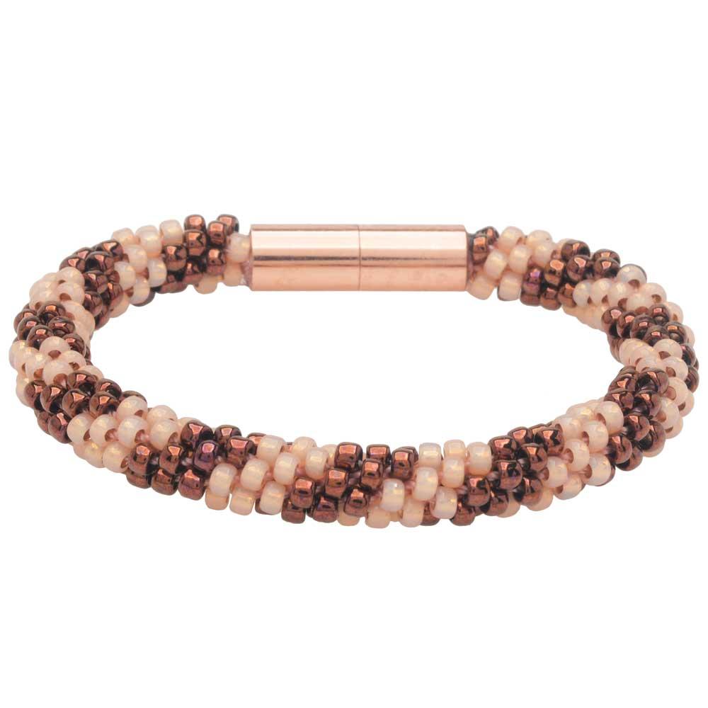 Splendid Spiral Kumihimo Bracelet in Pink and Bronze - Exclusive Beadaholique Jewelry Kit
