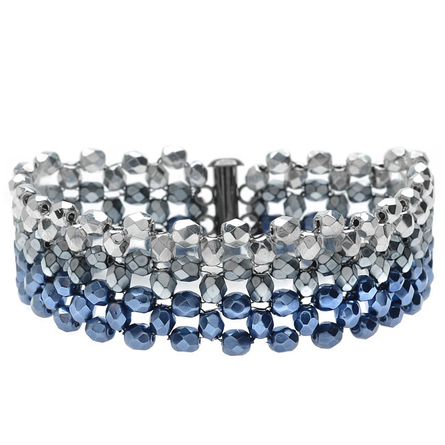 Ombre Right Angle Weave Bracelet-Blue/Silvr - Exclusive Beadaholique Jewelry Kit