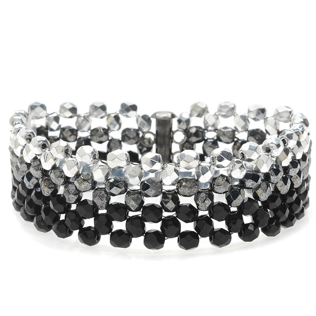 Ombre Right Angle Weave Bracelet-Blk/Silver - Exclusive Beadaholique Jewelry Kit
