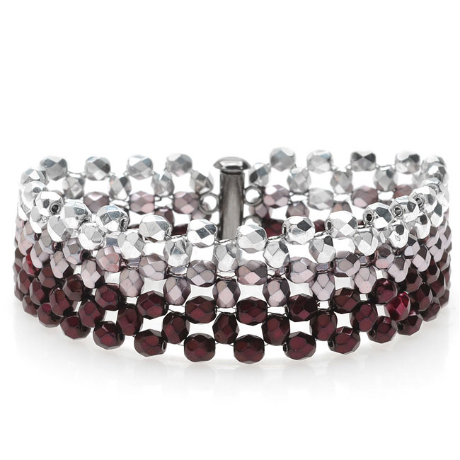 Ombre Right Angle Weave Bracelet-Red/Silver - Exclusive Beadaholique Jewelry Kit