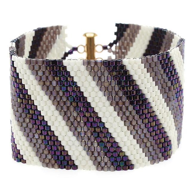 Diagonal Striped Peyote Bracelet (Prpl/Crm) - Exclusive Beadaholique Jewelry Kit
