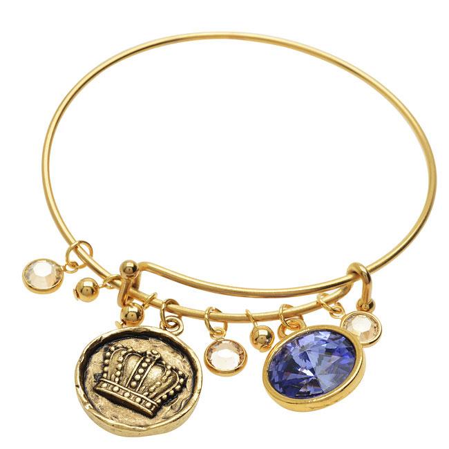 Final Sale - Gold Crown Deluxe Charm Bangle Bracelet  - Exclusive Beadaholique Jewelry Kit