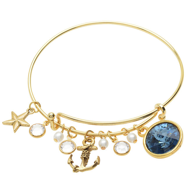 Nautical Blue Deluxe Charm Bangle Bracelet  - Exclusive Beadaholique Jewelry Kit