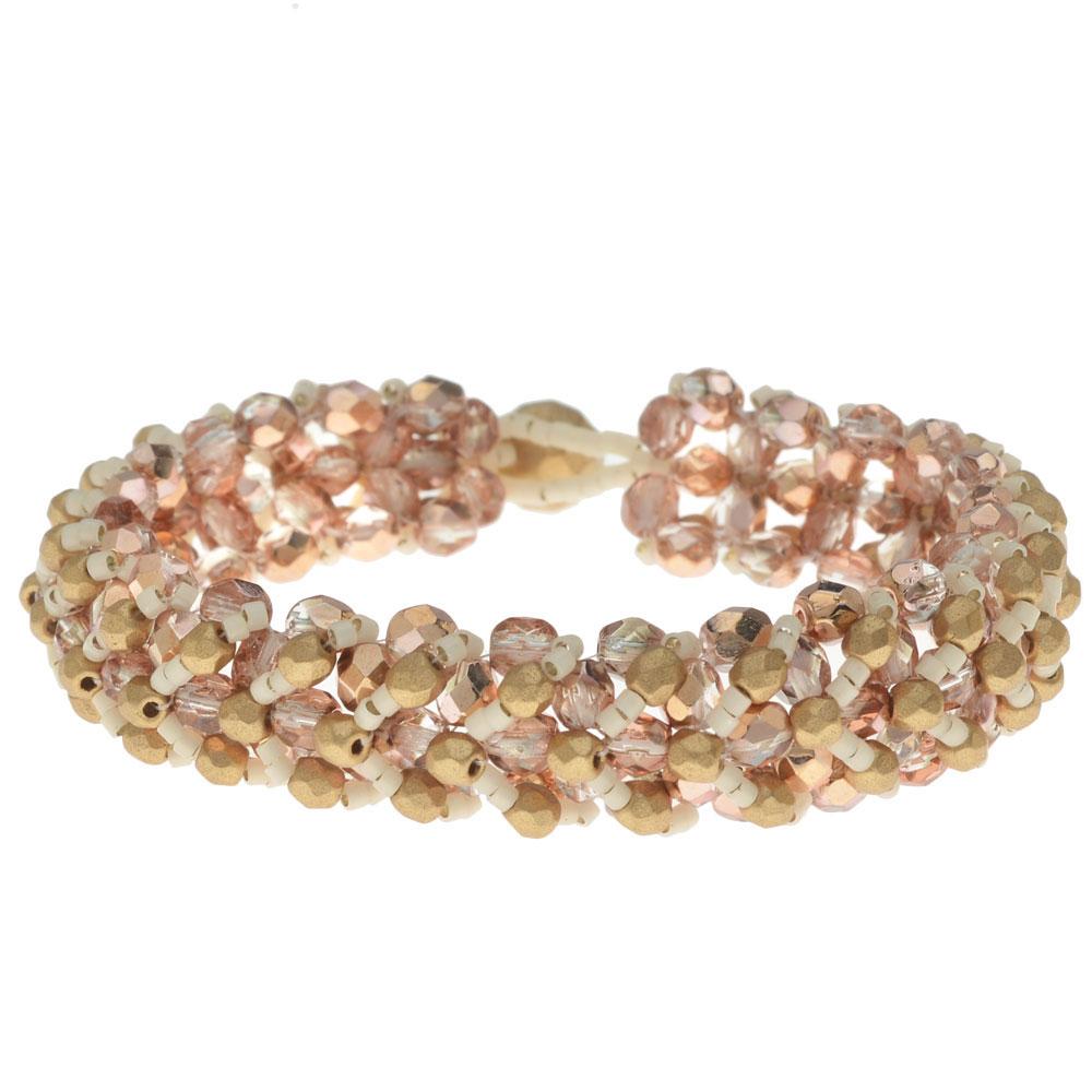 Chevron Right Angle Weave Bracelet Kit - Pink/Gold - Exclusive Beadaholique Jewelry Kit
