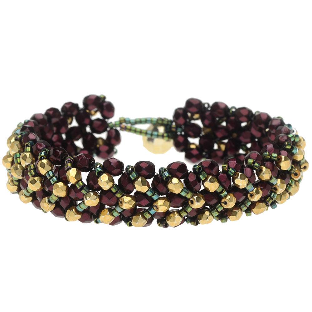 Chevron Right Angle Weave Bracelet - Winter Berry - Exclusive Beadaholique Jewelry Kit