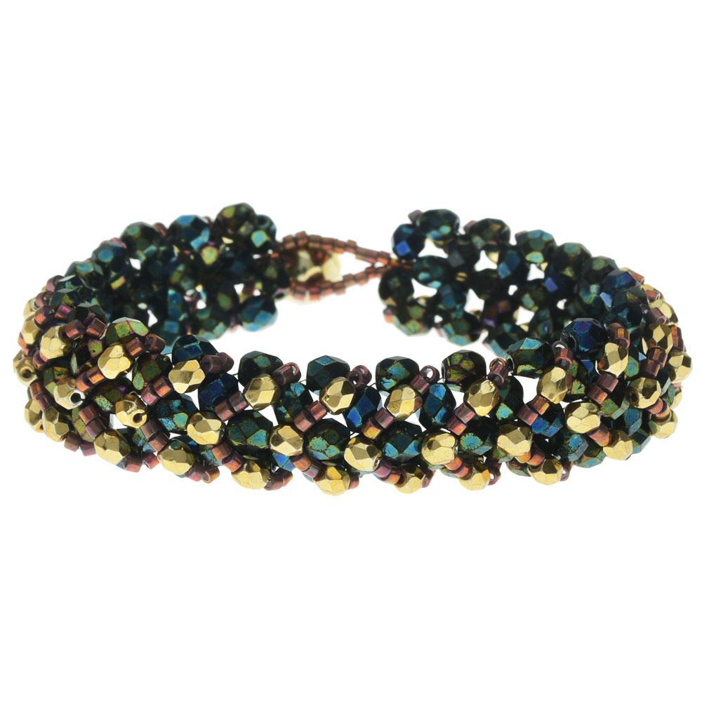 Final Sale - Chevron Right Angle Weave Bracelet - Green Iris/Gold - Exclusive Beadaholique Jewelry Kit